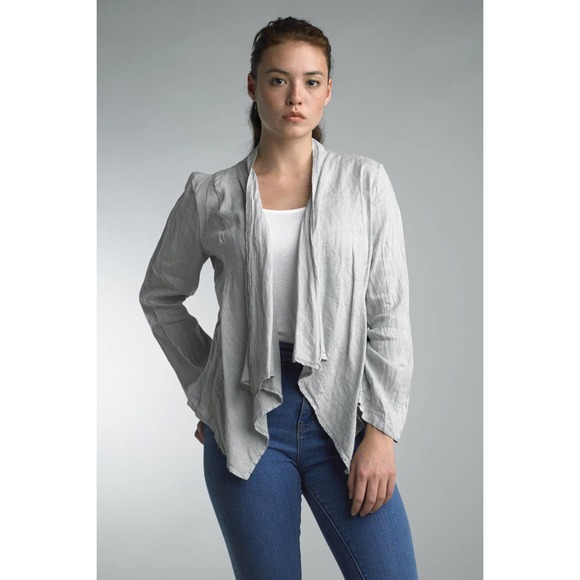 Tempo Paris Fly Away cropped linen jacket grey